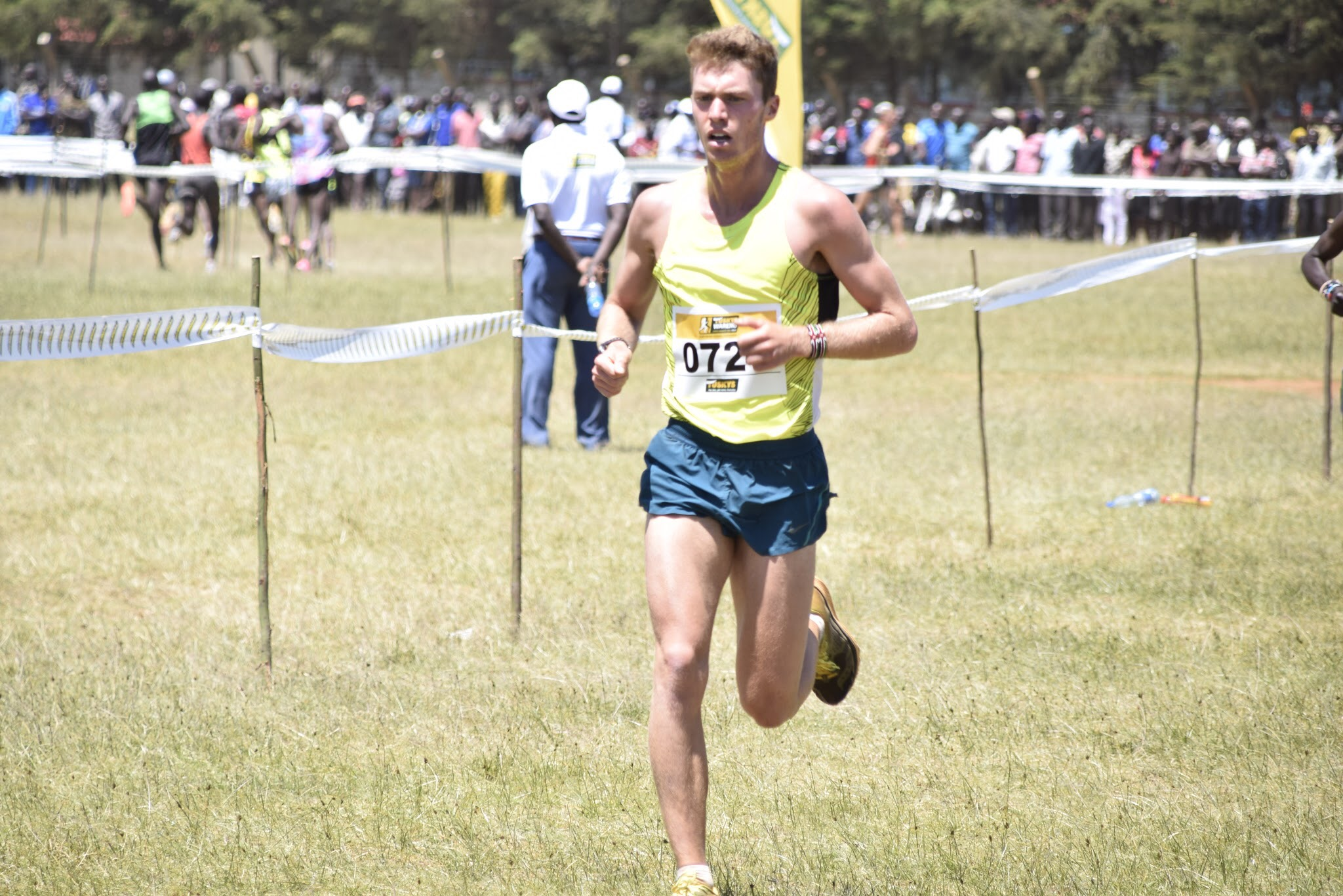 Callum (author) during a cross country race in Iten, Kenya