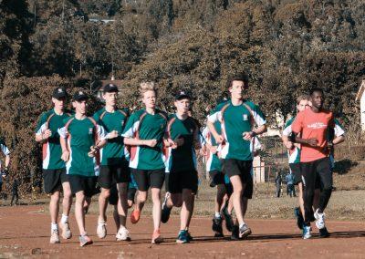Coach Collins with Westlake Boys School Runners Training in Kenya