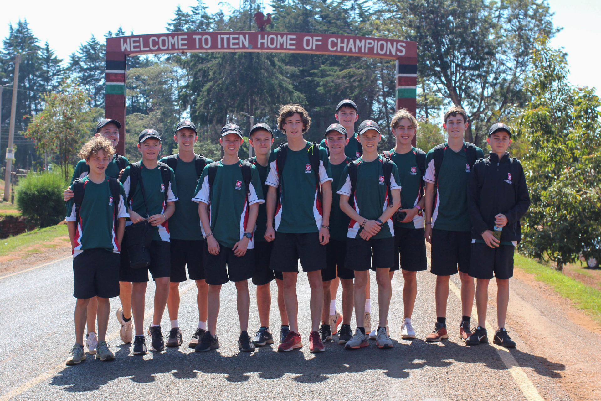 Westlake Boys School Runners with Iten Arch