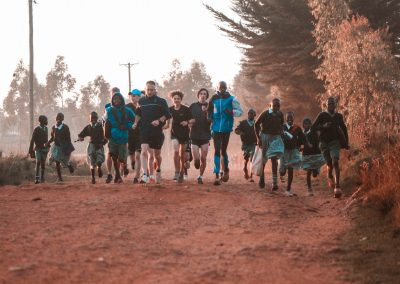 Westlake school morning run on trails with kenya school kids
