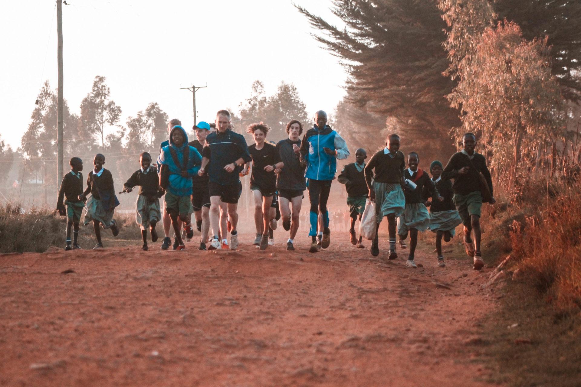 Westlake school morning run on trails with kenya school kids